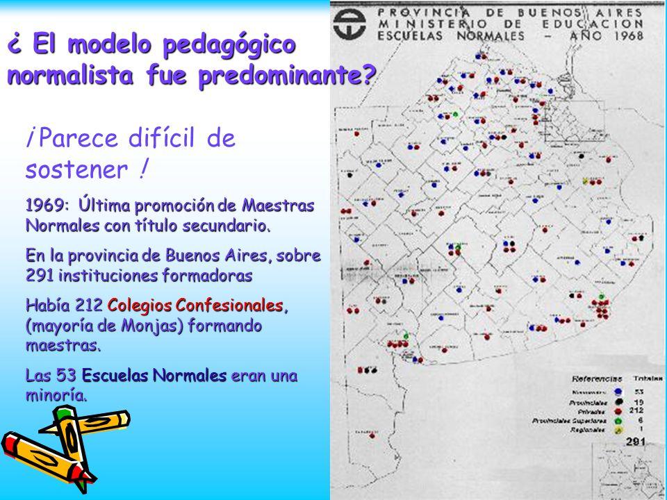 ¿ El modelo pedagógico normalista fue predominante? ¡ Parece difícil de sostener ! 1969: Última promoción de Maestras Normales con título secundario.