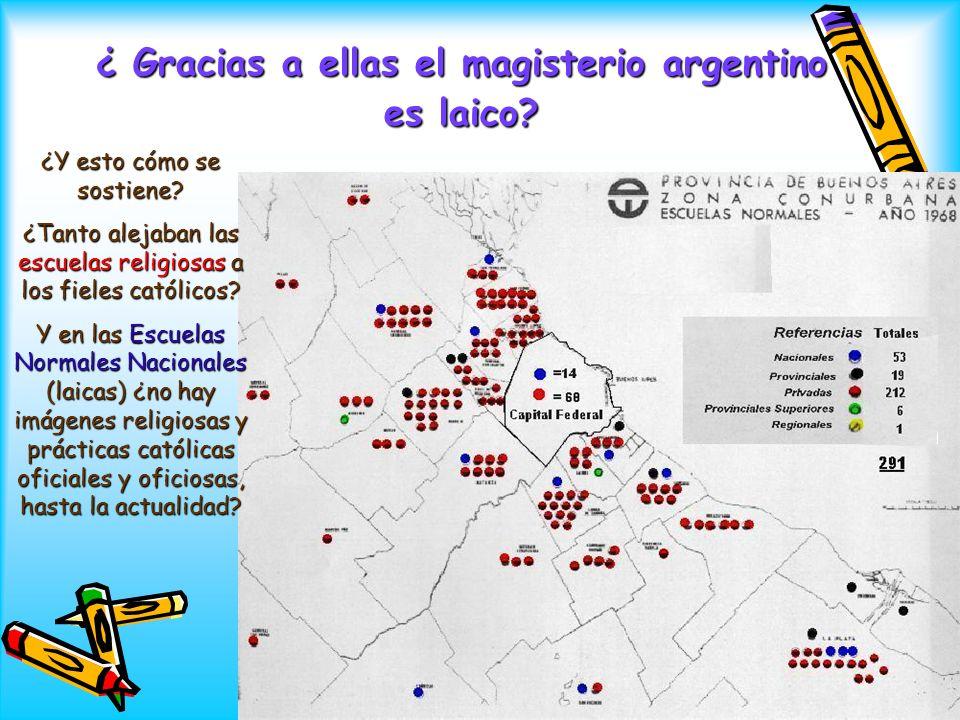 ¿ Gracias a ellas el magisterio argentino es laico? ¿Y esto cómo se sostiene? ¿Tanto alejaban las escuelas religiosas a los fieles católicos? Y en las