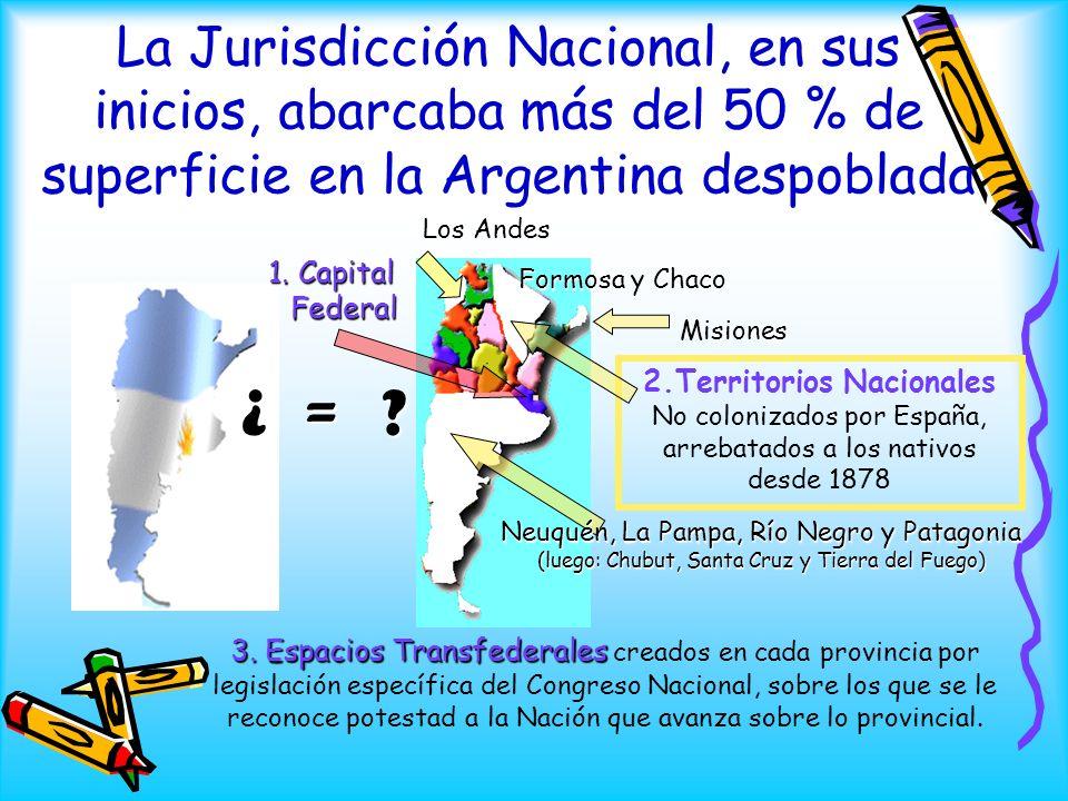 La Jurisdicción Nacional, en sus inicios, abarcaba más del 50 % de superficie en la Argentina despoblada 1. Capital Federal ¿ = ? 3. Espacios Transfed