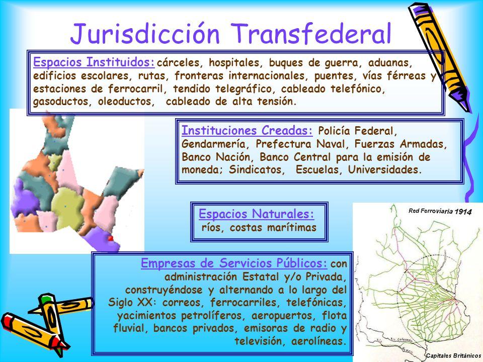 Jurisdicción Transfederal Empresas de Servicios Públicos: con administración Estatal y/o Privada, construyéndose y alternando a lo largo del Siglo XX: