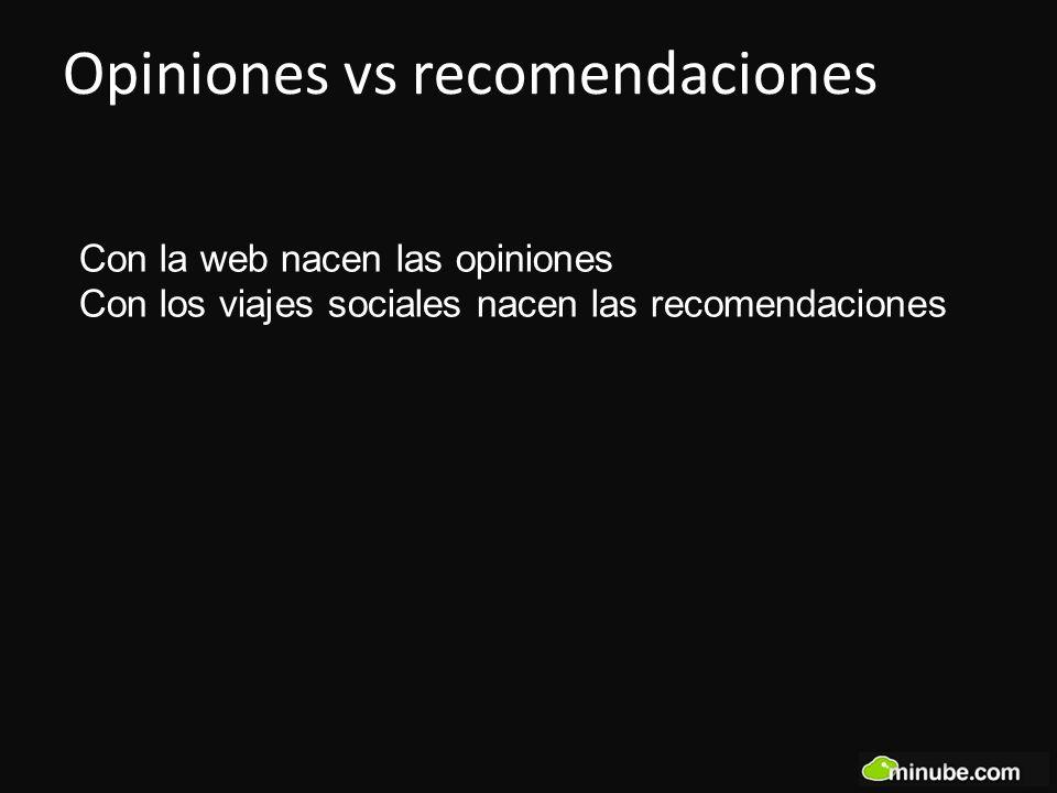 Con la web nacen las opiniones Con los viajes sociales nacen las recomendaciones Opiniones vs recomendaciones