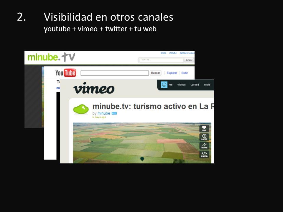 2. Visibilidad en otros canales youtube + vimeo + twitter + tu web