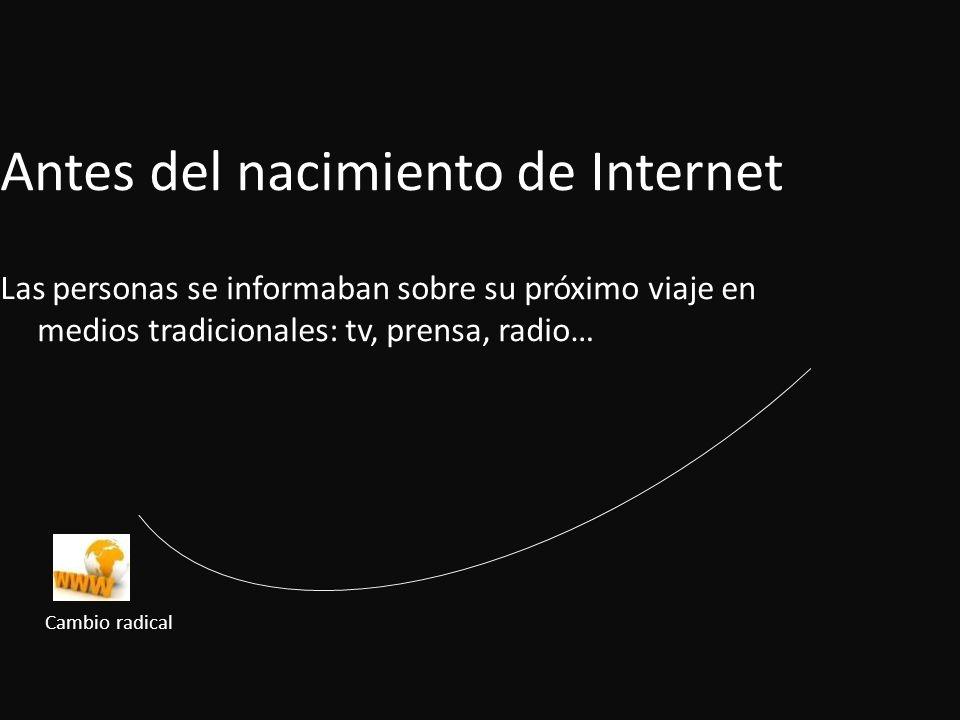 Antes del nacimiento de Internet Las personas se informaban sobre su próximo viaje en medios tradicionales: tv, prensa, radio… Cambio radical