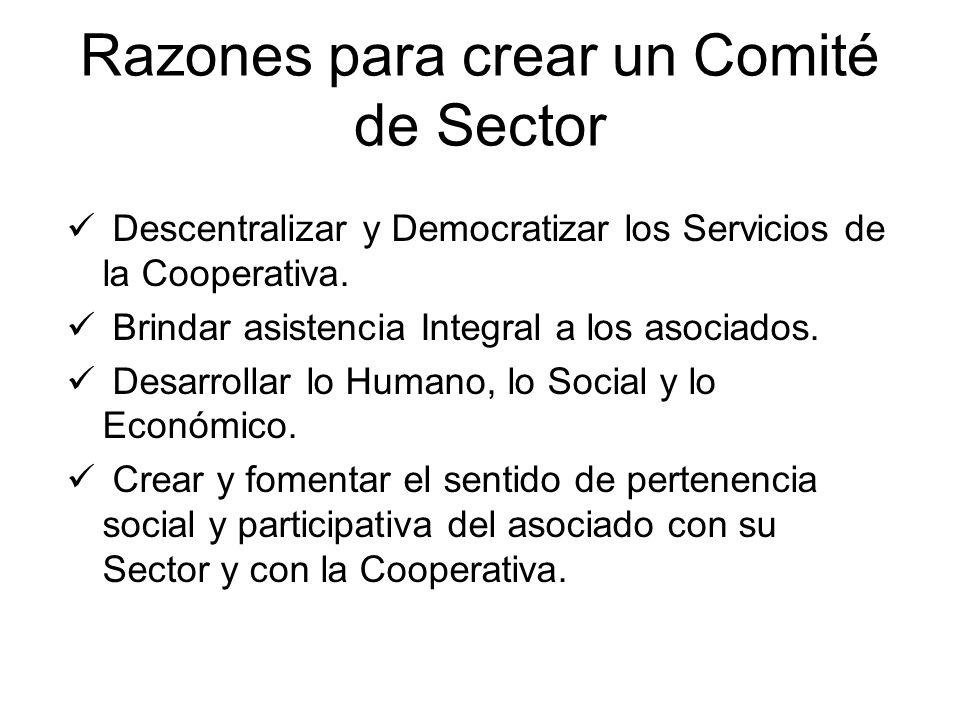 Razones para crear un Comité de Sector Descentralizar y Democratizar los Servicios de la Cooperativa. Brindar asistencia Integral a los asociados. Des