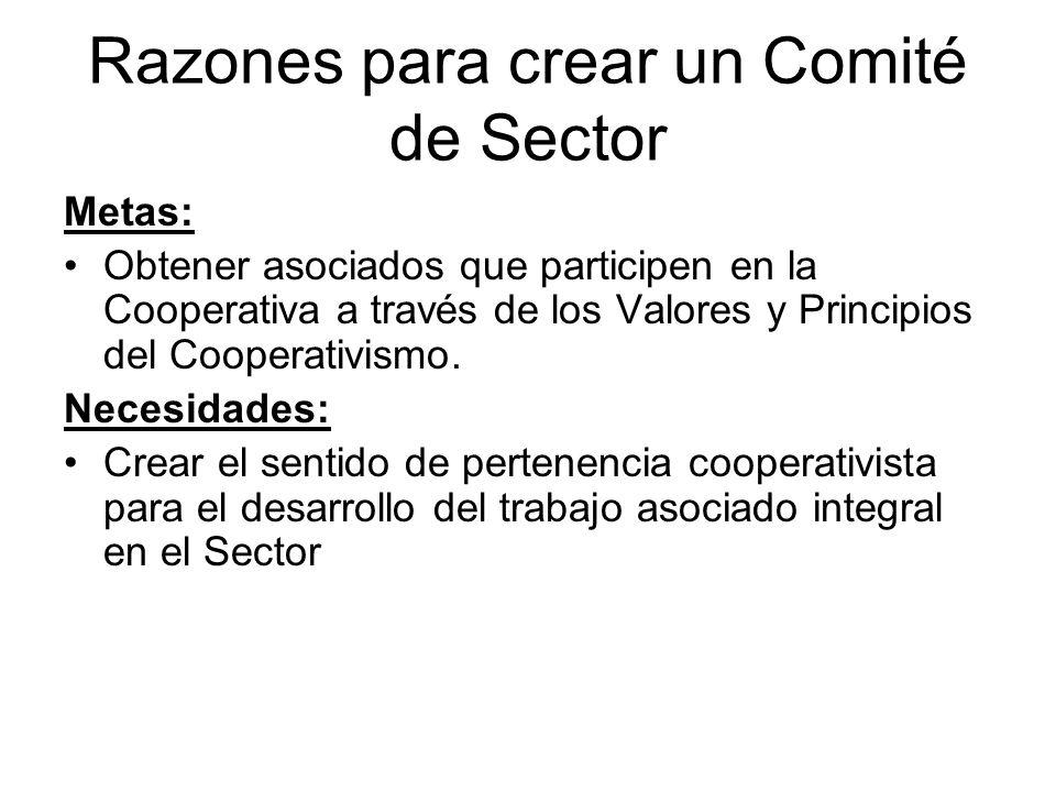 Razones para crear un Comité de Sector Metas: Obtener asociados que participen en la Cooperativa a través de los Valores y Principios del Cooperativismo.
