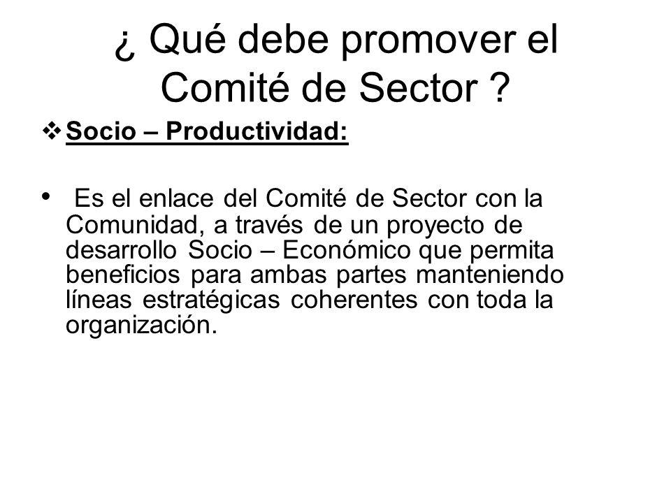 ¿ Qué debe promover el Comité de Sector ? Socio – Productividad: Es el enlace del Comité de Sector con la Comunidad, a través de un proyecto de desarr