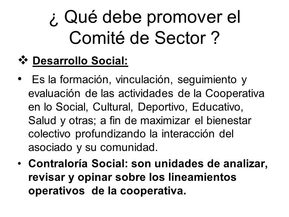 ¿ Qué debe promover el Comité de Sector ? Desarrollo Social: Es la formación, vinculación, seguimiento y evaluación de las actividades de la Cooperati