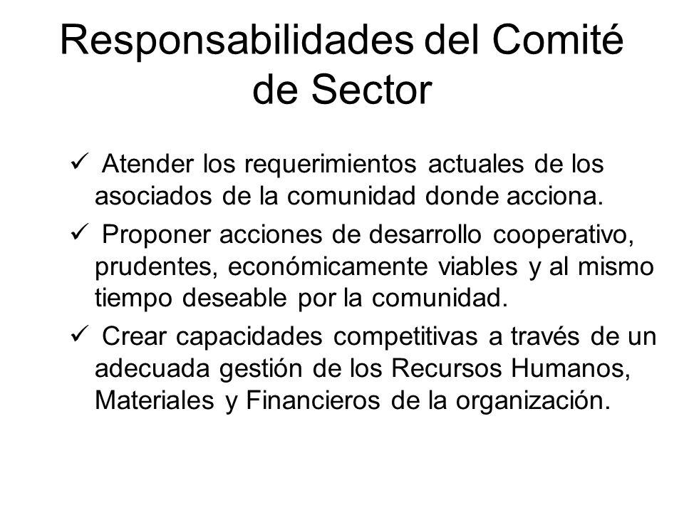 Responsabilidades del Comité de Sector Atender los requerimientos actuales de los asociados de la comunidad donde acciona. Proponer acciones de desarr