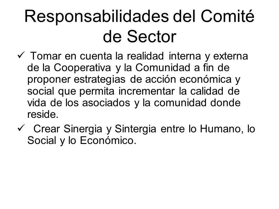 Responsabilidades del Comité de Sector Tomar en cuenta la realidad interna y externa de la Cooperativa y la Comunidad a fin de proponer estrategias de acción económica y social que permita incrementar la calidad de vida de los asociados y la comunidad donde reside.
