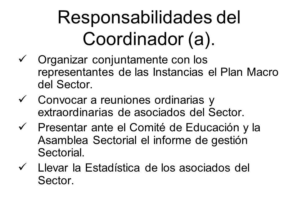 Responsabilidades del Coordinador (a). Organizar conjuntamente con los representantes de las Instancias el Plan Macro del Sector. Convocar a reuniones