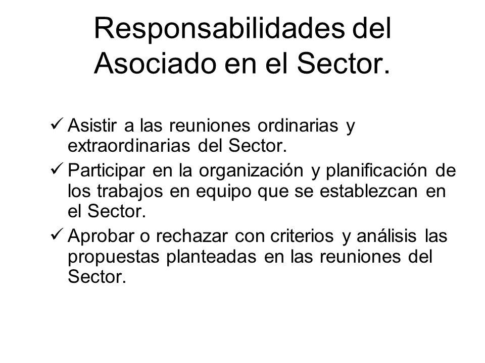 Responsabilidades del Asociado en el Sector. Asistir a las reuniones ordinarias y extraordinarias del Sector. Participar en la organización y planific