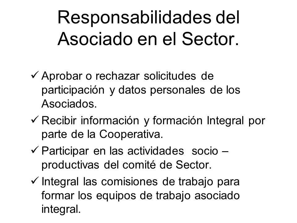 Responsabilidades del Asociado en el Sector. Aprobar o rechazar solicitudes de participación y datos personales de los Asociados. Recibir información