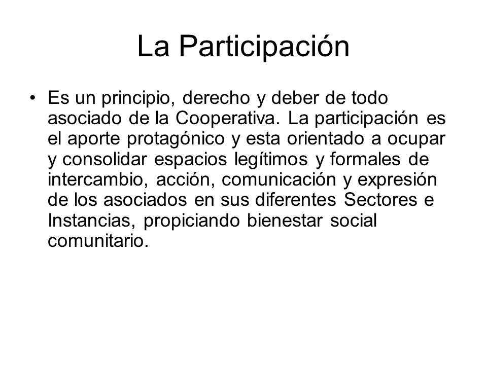 La Participación Es un principio, derecho y deber de todo asociado de la Cooperativa. La participación es el aporte protagónico y esta orientado a ocu