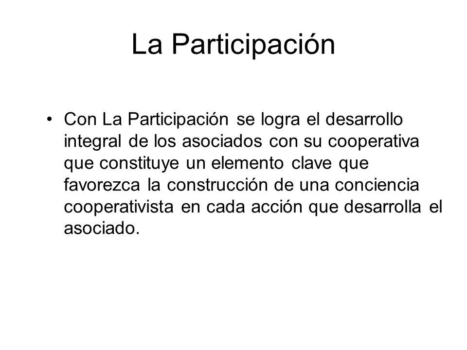 La Participación Con La Participación se logra el desarrollo integral de los asociados con su cooperativa que constituye un elemento clave que favorez