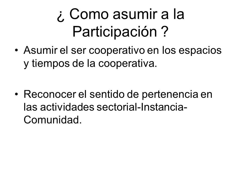 ¿ Como asumir a la Participación ? Asumir el ser cooperativo en los espacios y tiempos de la cooperativa. Reconocer el sentido de pertenencia en las a