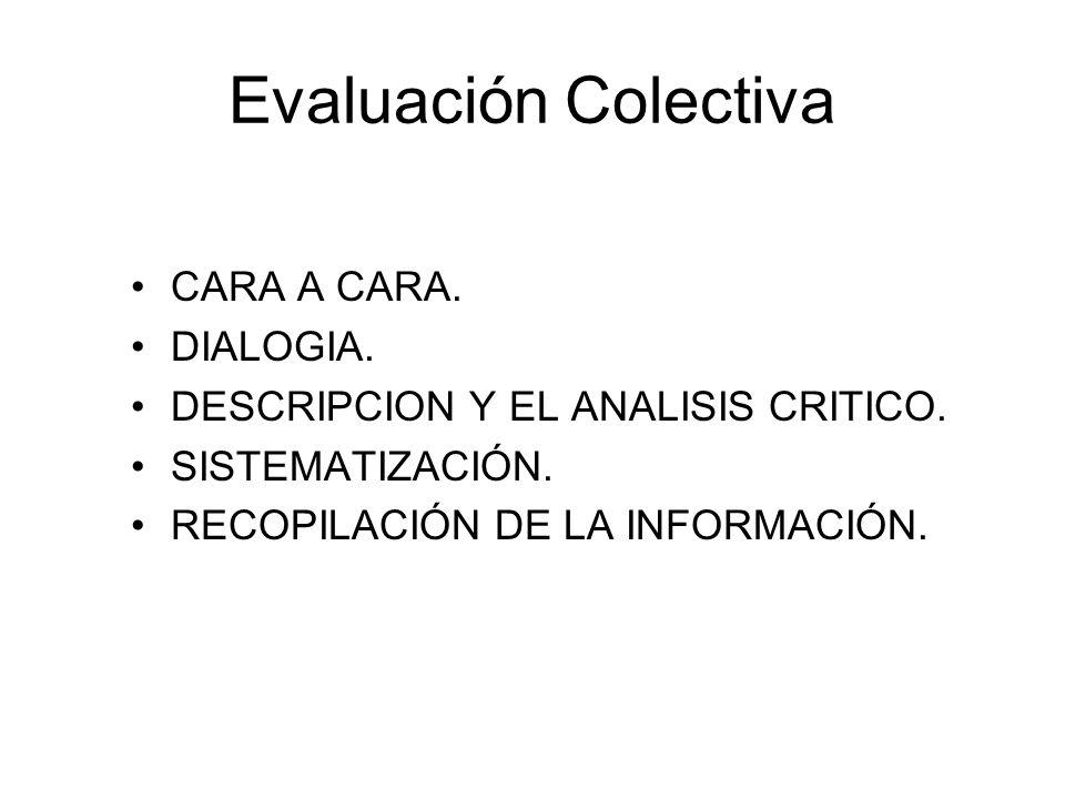 Evaluación Colectiva CARA A CARA. DIALOGIA. DESCRIPCION Y EL ANALISIS CRITICO. SISTEMATIZACIÓN. RECOPILACIÓN DE LA INFORMACIÓN.
