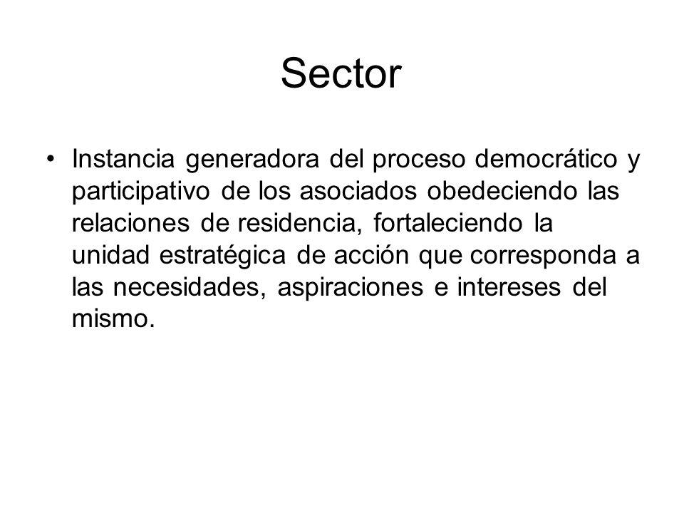 Sector Instancia generadora del proceso democrático y participativo de los asociados obedeciendo las relaciones de residencia, fortaleciendo la unidad estratégica de acción que corresponda a las necesidades, aspiraciones e intereses del mismo.