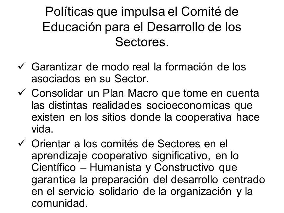 Políticas que impulsa el Comité de Educación para el Desarrollo de los Sectores. Garantizar de modo real la formación de los asociados en su Sector. C
