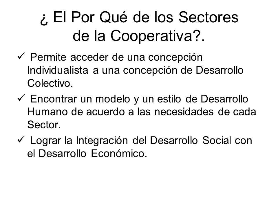 ¿ El Por Qué de los Sectores de la Cooperativa?. Permite acceder de una concepción Individualista a una concepción de Desarrollo Colectivo. Encontrar