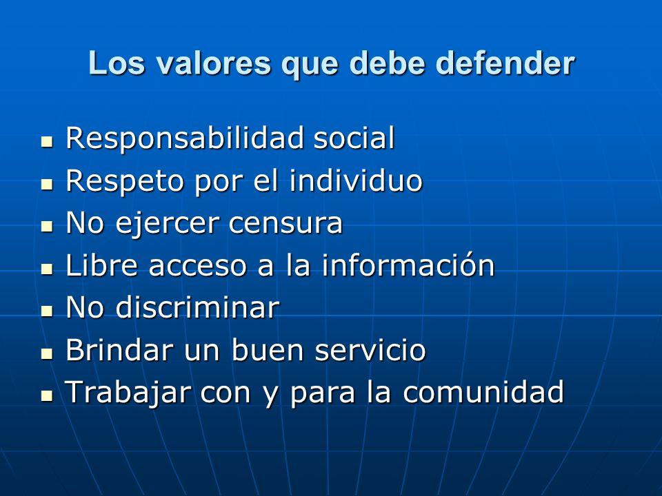 Los valores que debe defender Responsabilidad social Responsabilidad social Respeto por el individuo Respeto por el individuo No ejercer censura No ej