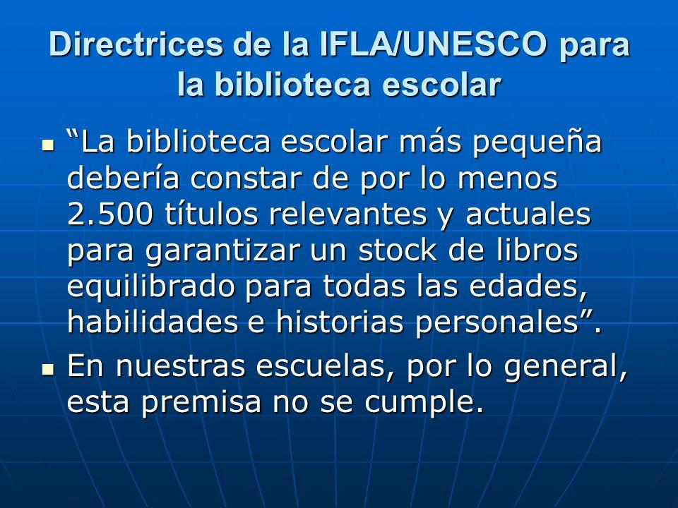 Directrices de la IFLA/UNESCO para la biblioteca escolar La biblioteca escolar más pequeña debería constar de por lo menos 2.500 títulos relevantes y