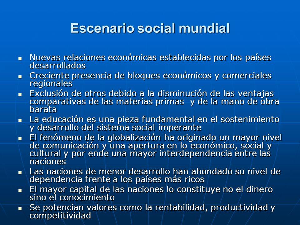 Escenario social mundial Nuevas relaciones económicas establecidas por los países desarrollados Nuevas relaciones económicas establecidas por los país