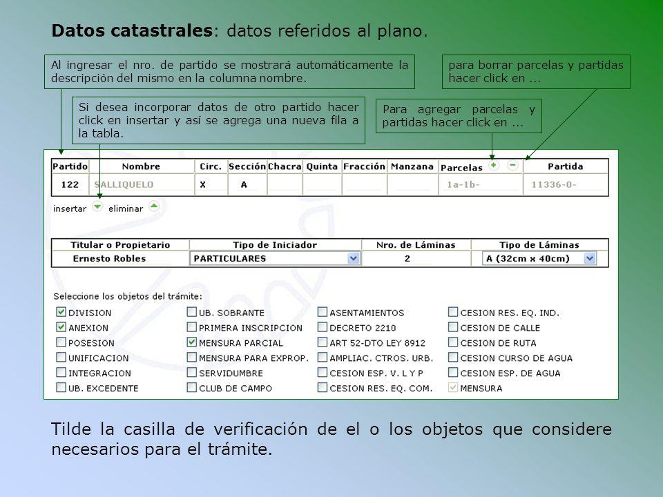 Tilde la casilla de verificación de el o los objetos que considere necesarios para el trámite. Si desea incorporar datos de otro partido hacer click e