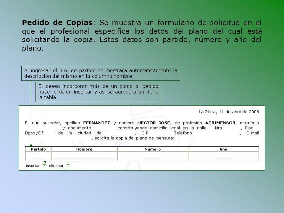 Pedido de Copias: Se muestra un formulario de solicitud en el que el profesional especifica los datos del plano del cual está solicitando la copia. Es