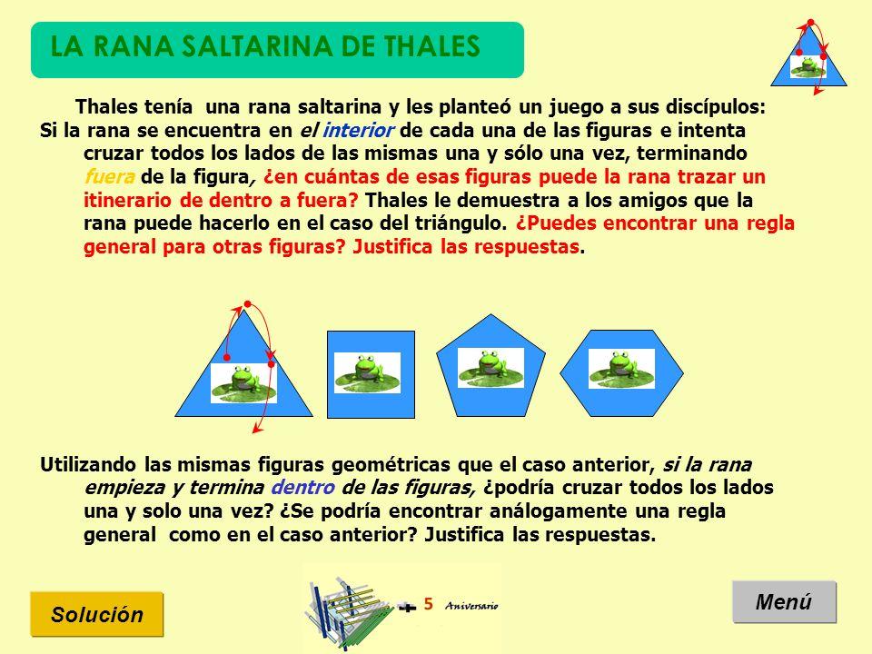 LA RANA SALTARINA DE THALES Solución Menú Thales tenía una rana saltarina y les planteó un juego a sus discípulos: Si la rana se encuentra en el inter
