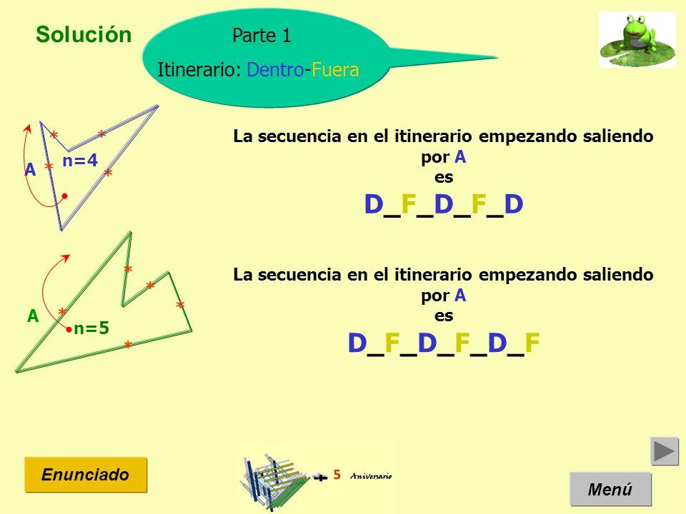 Solución Menú Enunciado Parte 1 Itinerario: Dentro-Fuera n=4 La secuencia en el itinerario empezando saliendo por A es D_F_D_F_D A * * * * n=5 A * * *