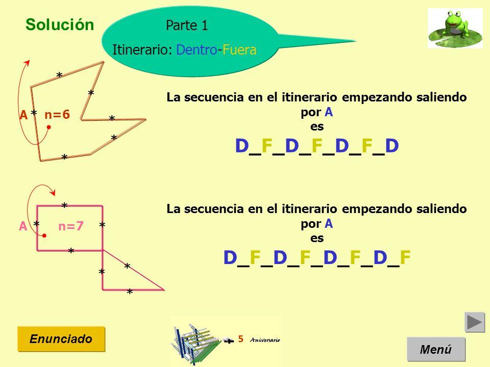 Solución Menú Enunciado Parte 1 Itinerario: Dentro-Fuera n=6 La secuencia en el itinerario empezando saliendo por A es D_F_D_F_D_F_D A La secuencia en
