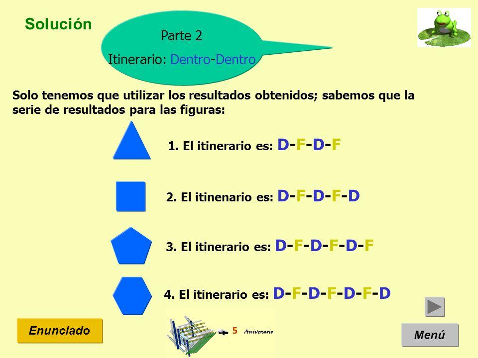 Solución Menú Enunciado Parte 2 Itinerario: Dentro-Dentro Solo tenemos que utilizar los resultados obtenidos; sabemos que la serie de resultados para