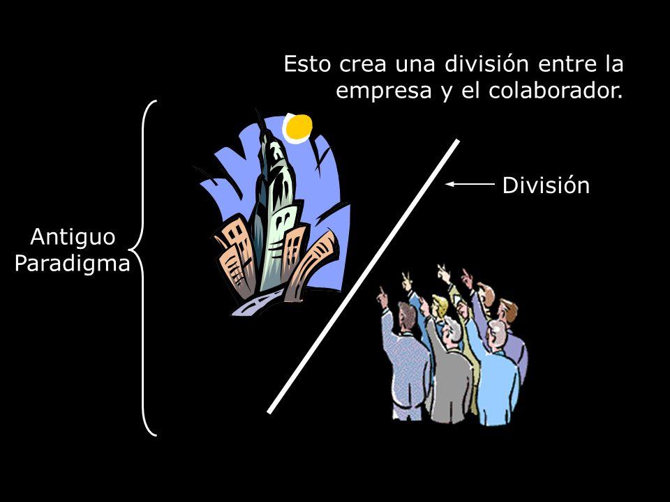 Esto crea una división entre la empresa y el colaborador. División Antiguo Paradigma