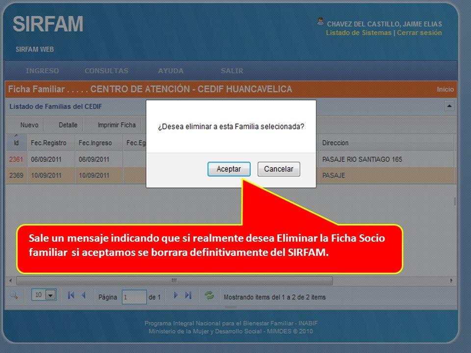 Sale un mensaje indicando que si realmente desea Eliminar la Ficha Socio familiar si aceptamos se borrara definitivamente del SIRFAM.