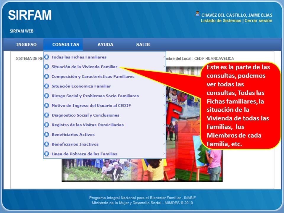 Este es la parte de las consultas, podemos ver todas las consultas, Todas las Fichas familiares, la situación de la Vivienda de todas las Familias, los Miembros de cada Familia, etc.