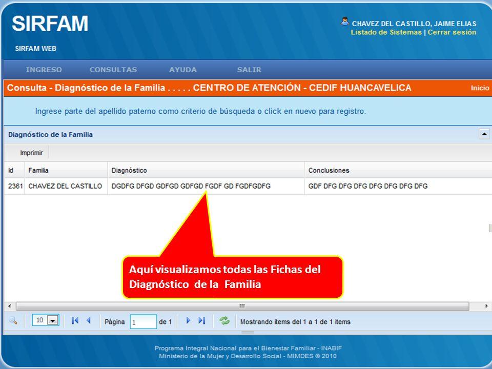 Aquí visualizamos todas las Fichas del Diagnóstico de la Familia