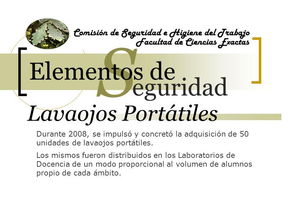 Lavaojos Portátiles Durante 2008, se impulsó y concretó la adquisición de 50 unidades de lavaojos portátiles.
