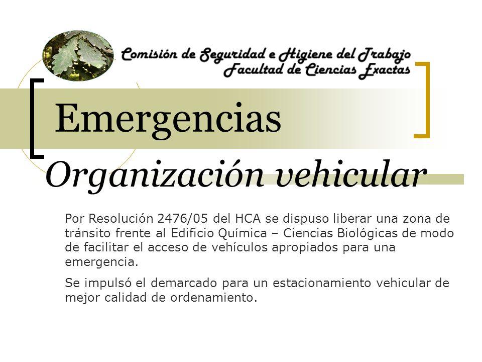 Organización vehicular Por Resolución 2476/05 del HCA se dispuso liberar una zona de tránsito frente al Edificio Química – Ciencias Biológicas de modo de facilitar el acceso de vehículos apropiados para una emergencia.