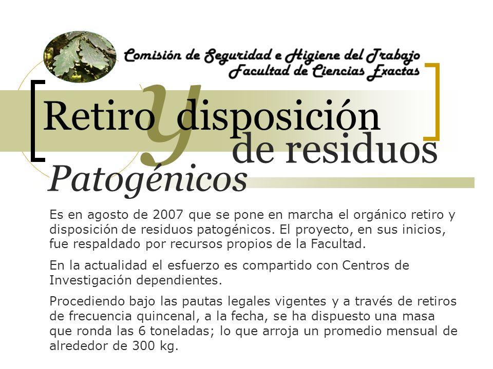 6000 de residuos y Retiro disposición Patogénicos kilos Es en agosto de 2007 que se pone en marcha el orgánico retiro y disposición de residuos patogénicos.