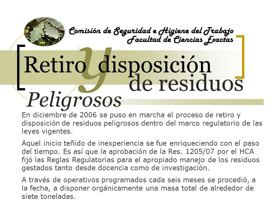 7000 de residuos y Retiro disposición kilos En diciembre de 2006 se puso en marcha el proceso de retiro y disposición de residuos peligrosos dentro del marco regulatorio de las leyes vigentes.