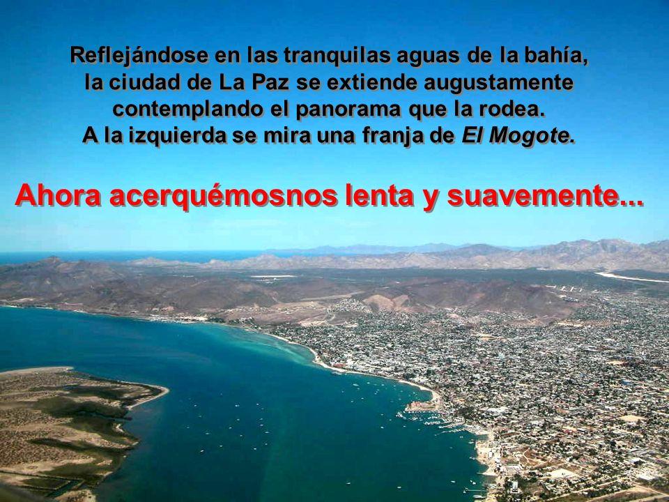 Reflejándose en las tranquilas aguas de la bahía, la ciudad de La Paz se extiende augustamente contemplando el panorama que la rodea.