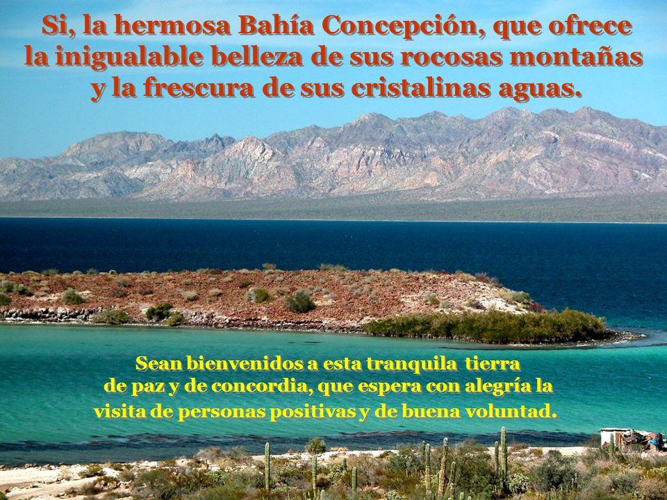Si, la hermosa Bahía Concepción, que ofrece la inigualable belleza de sus rocosas montañas y la frescura de sus cristalinas aguas.