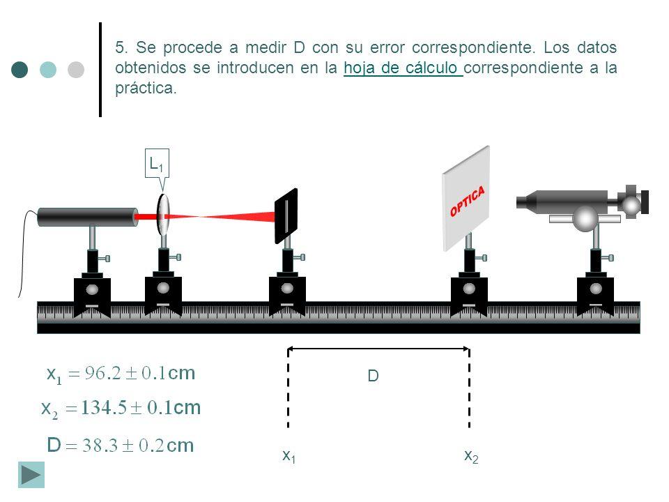 L1L1 5. Se procede a medir D con su error correspondiente. Los datos obtenidos se introducen en la hoja de cálculo correspondiente a la práctica.hoja