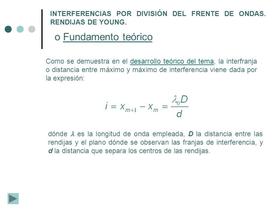 Con los datos obtenidos se procederá a calcular la distancia entre rendijas:calcular Todas las medidas se realizarán tres veces.
