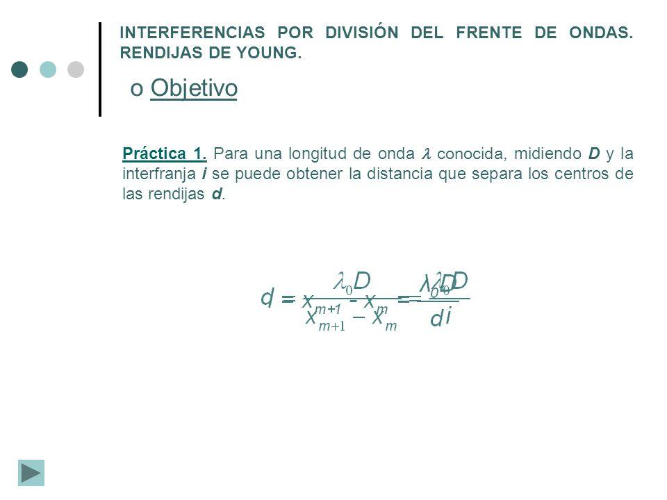 INTERFERENCIAS POR DIVISIÓN DEL FRENTE DE ONDAS. RENDIJAS DE YOUNG. o Objetivo Práctica 1Práctica 1. Para una longitud de onda conocida, midiendo D y