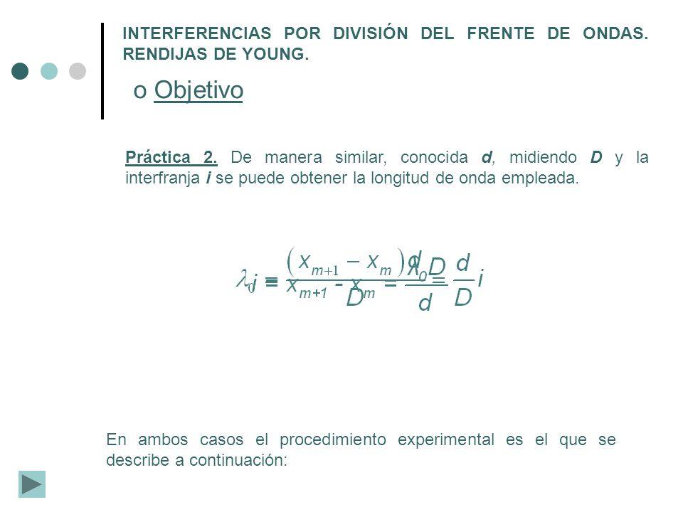 INTERFERENCIAS POR DIVISIÓN DEL FRENTE DE ONDAS. RENDIJAS DE YOUNG. o Objetivo Práctica 2. De manera similar, conocida d, midiendo D y la interfranja