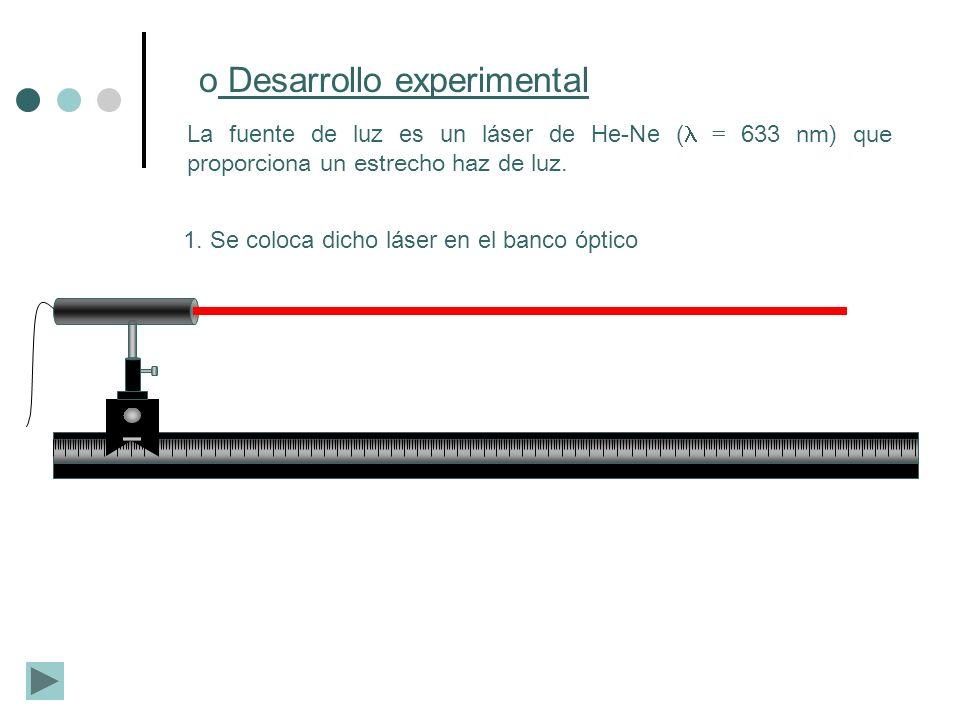 o Desarrollo experimental La fuente de luz es un láser de He-Ne ( = 633 nm) que proporciona un estrecho haz de luz. 1. Se coloca dicho láser en el ban