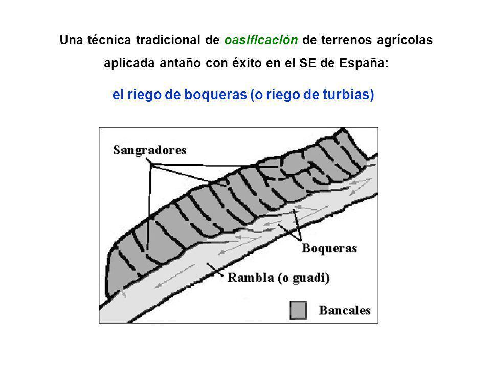 Una técnica tradicional de oasificación de terrenos agrícolas aplicada antaño con éxito en el SE de España: el riego de boqueras (o riego de turbias)