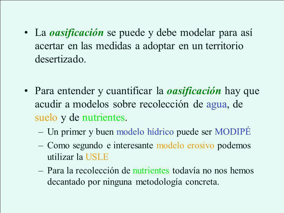 La oasificación se puede y debe modelar para así acertar en las medidas a adoptar en un territorio desertizado.