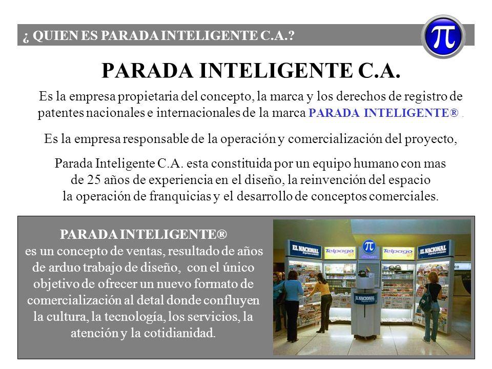 PARADA INTELIGENTE C.A. Es la empresa propietaria del concepto, la marca y los derechos de registro de patentes nacionales e internacionales de la mar